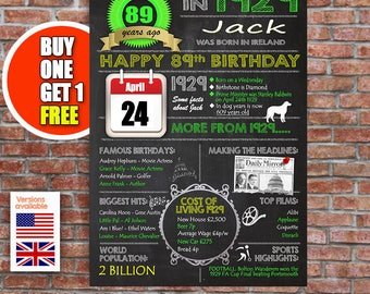 89th birthday gift, 89 years old, personalised 89th present, USA and UK version