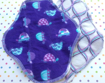 Ready to Ship Set of 2, Choose Pantyliner or Period Pad, Purple Turtles