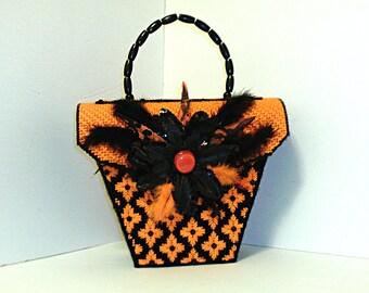 Black and orange women's Halloween handbag