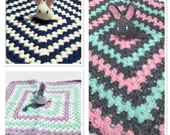 Baby Bunny Lovey, Baby Lovey, Crochet Bunny Lovey, Baby Lovies, Baby Blanket, Security Blanket, Crochet Rabbit Lovey, Crochet Baby Blanket