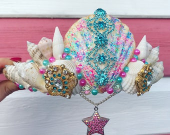 Pink and Blue Mermaid Crown Sea Shell Head Hair Band