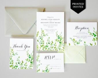 Botanical Wedding Invites - Greenery Watercolor - Garden Invitation Set - Wedding Stationery Package - Green Branches Invite