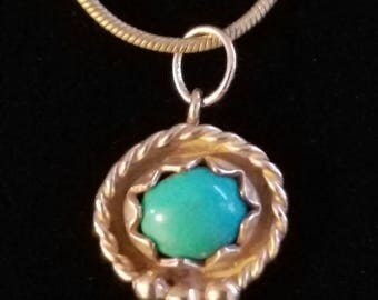 """CP036: 4.6g Vintage Silver Snake Chain 14"""" to 17"""" (extender) with Solid Silver Milgrain Beaded Turquoise Cabochon Sterling Pendant 2.6g"""