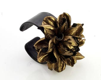 Luxurious genuine metallic dark gold leather rose black leather-covered cuff bracelet, metal based open end wrist cuff w/ leather flower