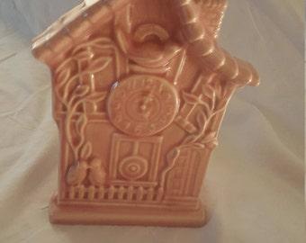 Vintage American Shawnee? Ceramic Cuckoo Clock Motif Wall Plantar