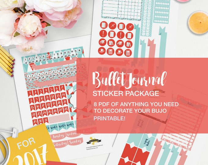Featured listing image: Bullet Journal Stickers Package in teal and salmon - Downloadable PDF