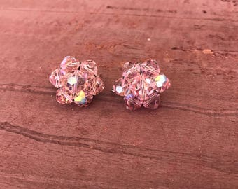 Pink Swarovski Crystal Bead Silver Old Hollywood Glam Clip-On Earrings 14g