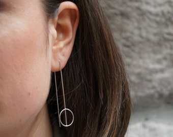 Minimal earrings, sterling silver long earrings, contemporary jewelry, two sided earrings, modern earrings, bar earring double sided earring