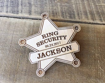 Ring Bearer Badge, Ring Security, Laser Cut Wood Wedding, Ring Bearer Sign, Ring Bearer Outfit, Wood Engraved Wedding, Rustic Style Wedding