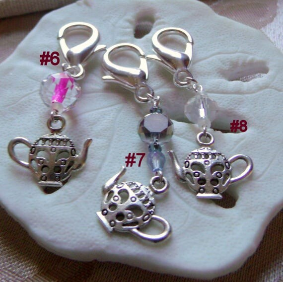 Pink  silver teapot / cup zipper pulls - add on gift - tea lover - tea time -  garden party - Shower gifts - charms - English country style