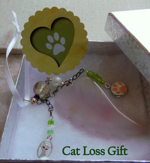 Pet loss Gift - white agate wing - pale pink  angel wing memento - pet memento - keepsake - Cat loss - furry friend gift - Paw print  charm