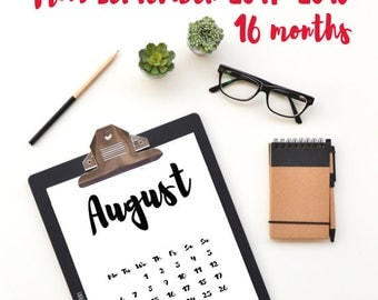 Black white calendar, Printable 2018, 8x10 calendar, Calligraphy, Planner, Download calendar, Office decor, Office decor, Gift, Minimal 2018