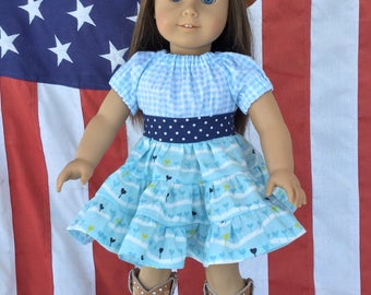 "American 18"" Doll dress, Fits like American Girl doll clothes, Ruffle skirt, Party dress, Puff sleeve, Girl doll country dress"