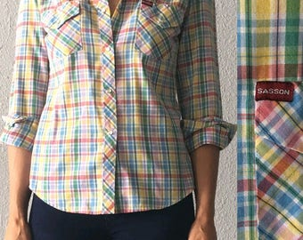 1980's Women's Plaid Snap Button Country Western Pastel 80's Vintage Shirt by Sasson