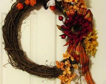 Clearance!!! Thanksgiving Wreath, Fall Wreath, Fall decor, Home decor, Autumn decor, Sunflower, Grapevine, Ribbon, Decoration