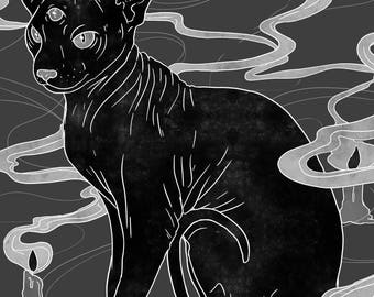 Sphynx With Candles A3 Print