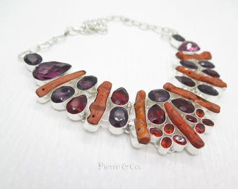 Genuine Coral Amethyst Garnet Sterling Silver Necklace