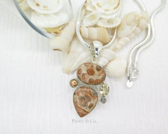 Picture Jasper Pearl and Citrine Sterling Silver Pendant and Chain