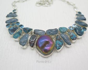Chrysocolla Moss Agate Titanium Drusy Sterling Silver Necklace