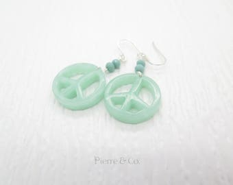 Peaceful Shaped Jade Sterling Silver Dangle Earrings