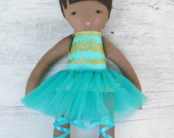 "Mila - Handmade rag doll, 38cm (15""), fabric doll, ballerina doll, gifts for girls."