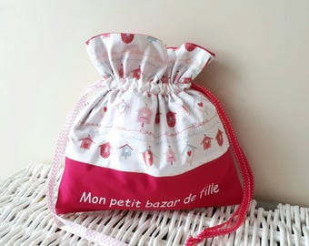 Bag scenes houses, children scenes, hot pink makeup pouch bag.