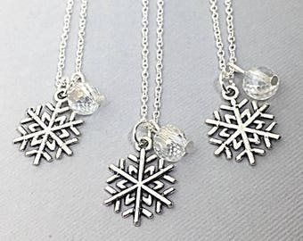 Set of 3 - 925 Sterling Silver chain, personalized Best friend necklace-set of 3,snow flake necklaces,charms,friendship,3 friends, BFF Gift