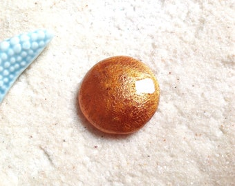 Cabochon 30mm gold copper iridescent / hand painted round /cabochon magnifying glass / pendant round glass resin