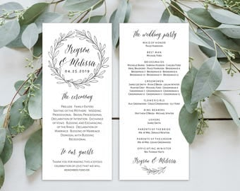 Wedding Program Editable Template | Program Printable, Ceremony Printable | Silver Rustic Wreath | 4x9"