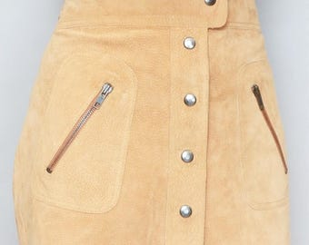 Vintage 1970's Button Front Brown Suede Mini Skirt