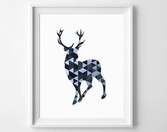 Geometric Deer Print, Deer Wall Art, Deer Wall Decor, Nursery Deer Print, Deer Printable, Deer Nursery Art, Deer Nursery, Triangle Printable