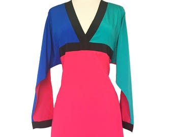 1980s Dress - Oscar de la Renta Dress - 80s Dress - Color Block Dress for a Modern Muse - Size Small