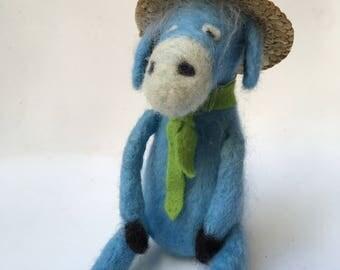 Donkey, Felt Donkey, felt animal, felted donkey,gift, needle felted donkey