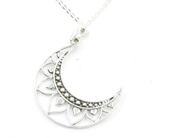 Mandala Moon Sterling Silver Necklace, Crescent Moon Jewelry, Lotus Moon, Meditation, Spiritual, Boho, Gypsy, Festival
