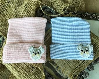 Twins Schnauzer Hospital hats, Newborn dog Beanies, Newborn,  pink or blue beanie, German SchnauzerHospital hat