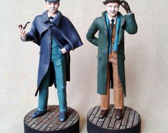 Sherlock Holmes and Dr. Watson figurines set Handmade sculpture Jeremy Brett David Burke