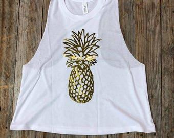 Pineapple - Gold Foil - Women's Crop MuscleTank