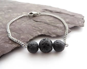 Lava rock essential oil diffuser jewelry, Aromatherapy festival jewelry, Stainless steel bracelet, lava bracelet, boho anklet ankle bracelet