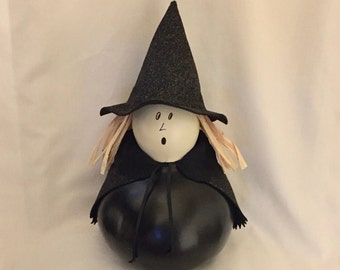 Halloween Witch Gourd-Halloween Decoration-Gourd Art-Hand Painted Witch Gourd