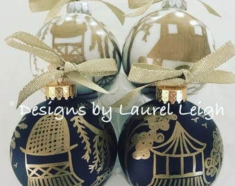 BLACK and GOLD Chinoiserie Christmas Ornament | Hand Painted, Holiday, Hostess, Housewarming, Gift, pagoda, leopard