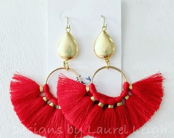 RED and Gold Fringe Fan Earrings | tassel, lightweight, statement earrings, Designs by Laurel Leigh