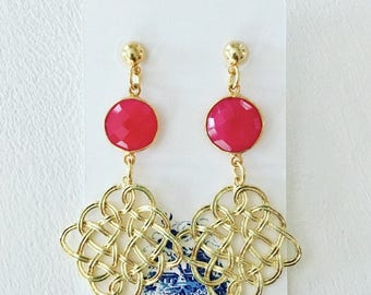 GOLD and HOT PINK Knot Earrings | lightweight, gemstone, post earrings, statement earrings, Designs by Laurel Leigh
