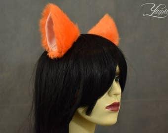 Orange Cat Ears | Huge Clip on Cat Ears | Cat Ears | Clip on Ears | Fluffy ears | Kitty Ears | Anime Ears | Fur Ears | Fluffy Ears