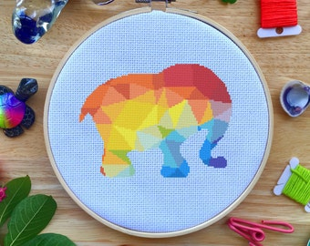 Cross Stitch Kit - Modern Elephant Cross Stitch - Colorful Geometric Elephant
