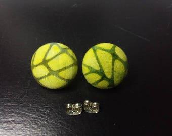 Green Batik Scrap earrings | Upcycled fabric earrings | Cloth Button Stud Earrings | Unique Jewelry
