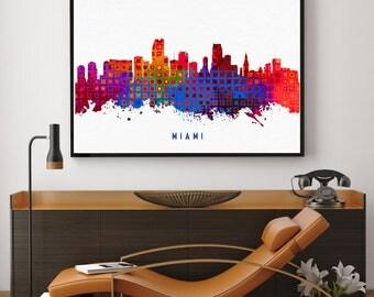 Miami Skyline Print, Miami Art, Miami Painting, Miami Wall Decor, Watercolor Miami, Florida Art, Miami Theme, Kitchen Decor (N158)