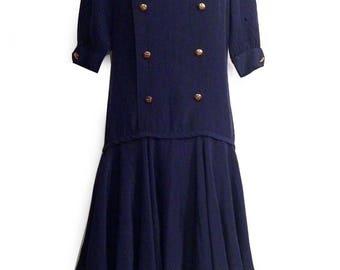 Vtg. ADOLFO Blue Drop Waist Flapper Style SILK Dress