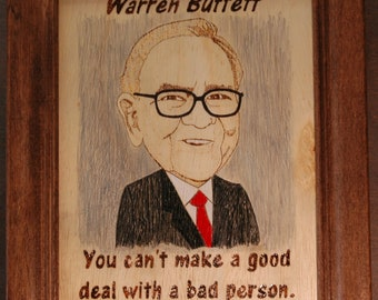 Warren Buffet - wood burned picture and quote