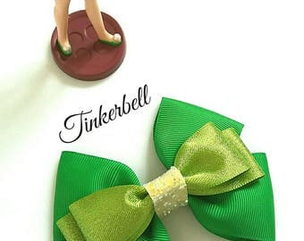Tinkerbell, Fairy, Peter Pan, Hair Bow, Baby Headband, Disney,Green, Yellow, Hair Clip,Uk