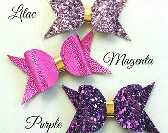 Hair bows, glitter, purple, lilac, magenta, bridal, gold, metallic leatherette,headband, hair clip, girls gift, birthday, uk